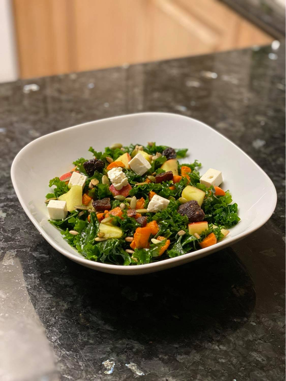 Roasted Butternut Squash and Apple Kale Salad with Lemon Vinaigrette