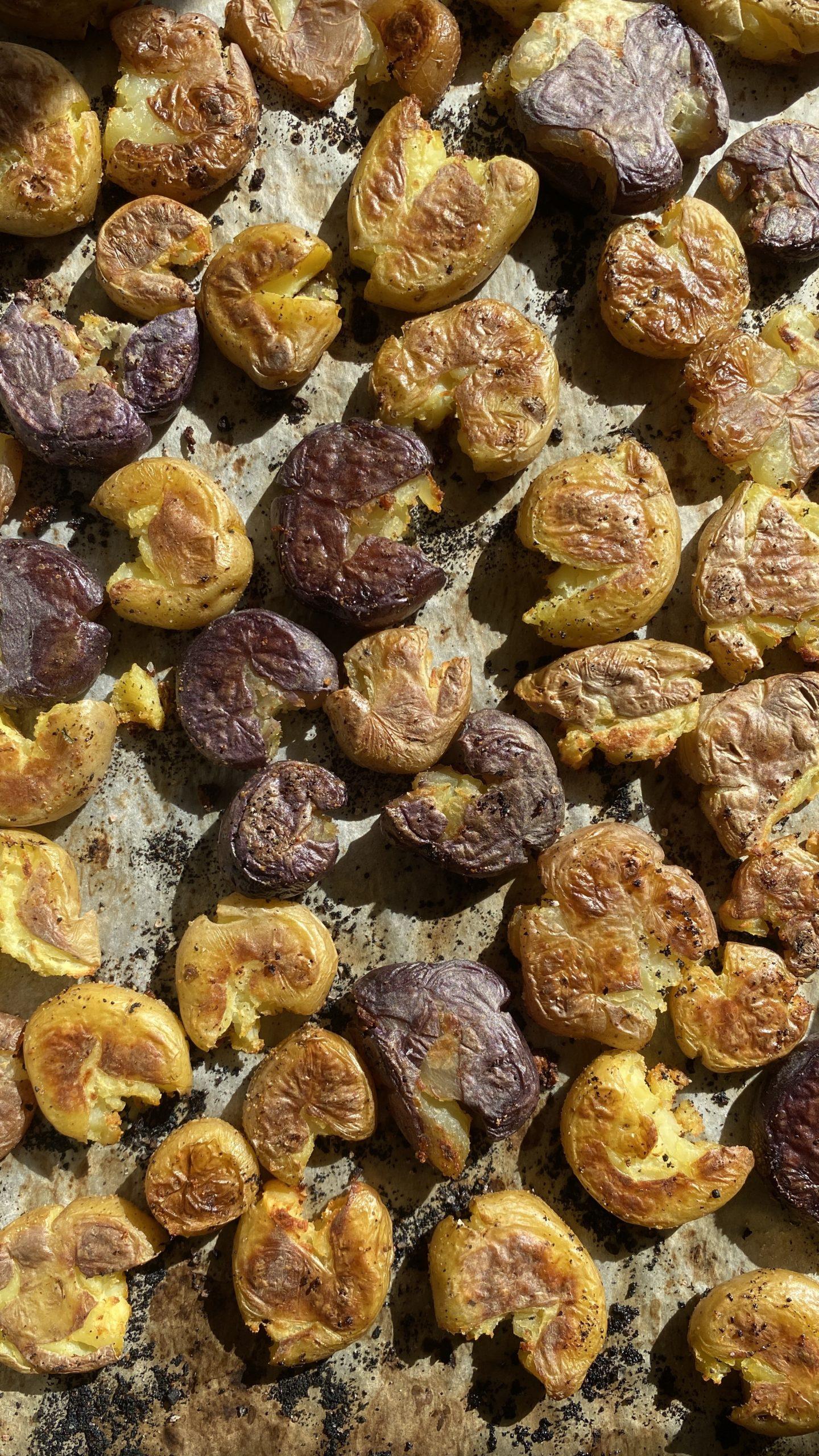 Smashed Garlic Potatoes